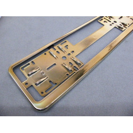 Nummernschildhalter gold chrom für Standard Nummernschild