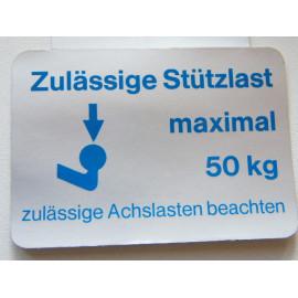 Stützlastschild für PKW 50 kg