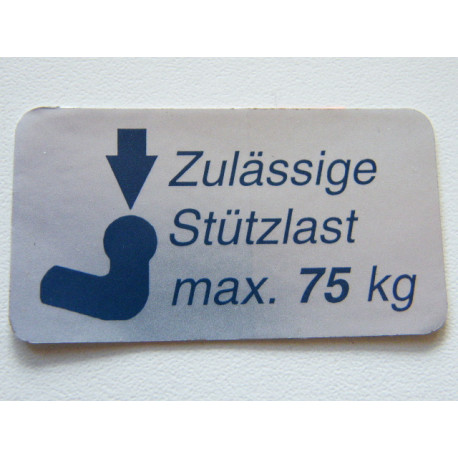 Stützlastschild für PKW 75 kg