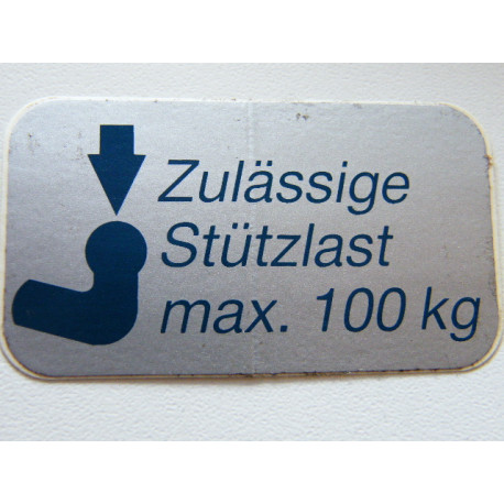 Stützlastschild für PKW 100 kg