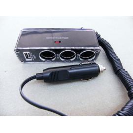 Adapter von 1 auf 3 für Zigarettenanzünder mit USB 12 Volt